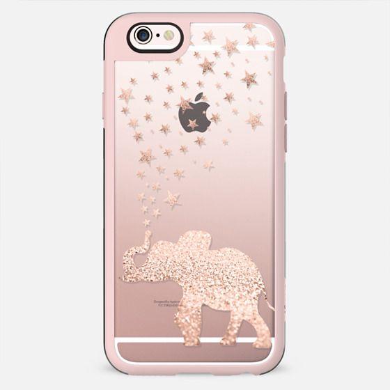HAPPY ELEPHANT ROSE GOLD FAUX GLITTER  by Monika Strigel iPhone 6