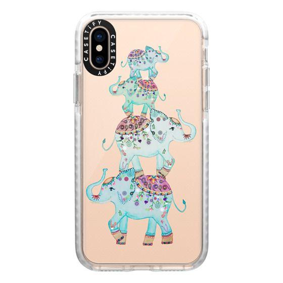 iPhone XS Cases - BLUE ELEPHANTS by Monika Strigel
