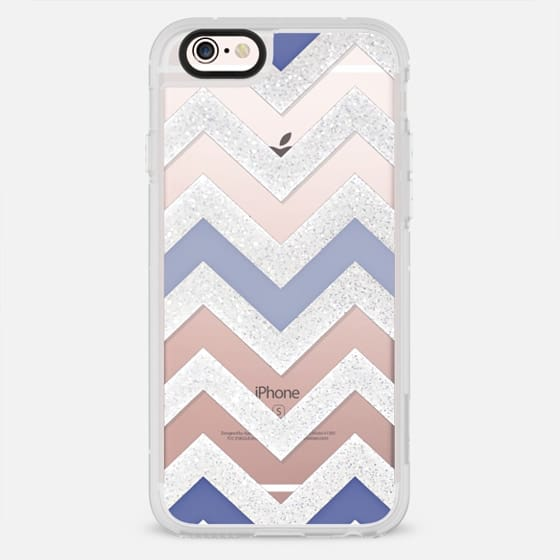 SILVER CHEVRON 6 AND BLUE by Monika Strigel - New Standard Case