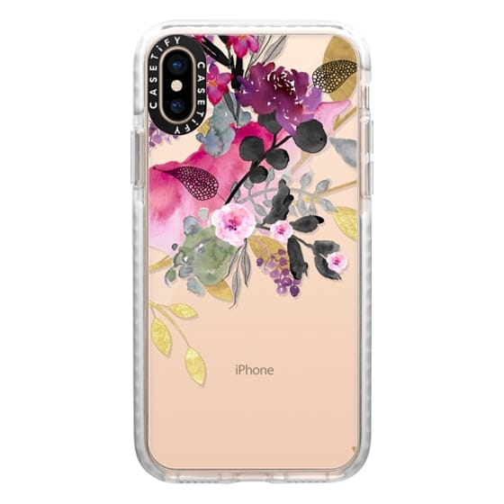 iPhone XS Cases - FLOWER & GOLD by Monika Strigel