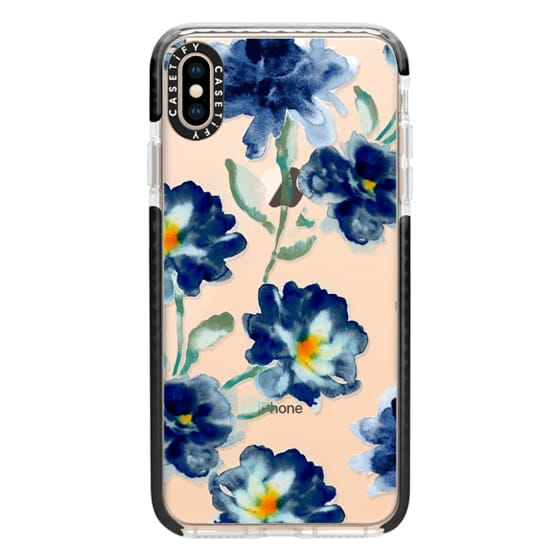iPhone XS Max Cases - Blue Watercolor Clear Iphone case