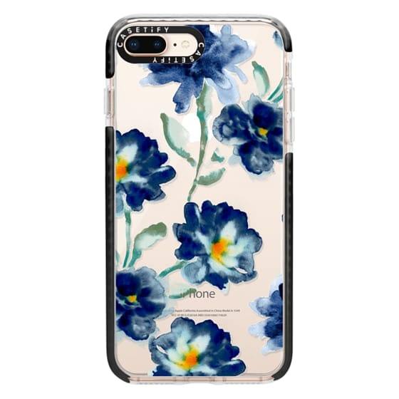 iPhone 8 Plus Cases - Blue Watercolor Clear Iphone case