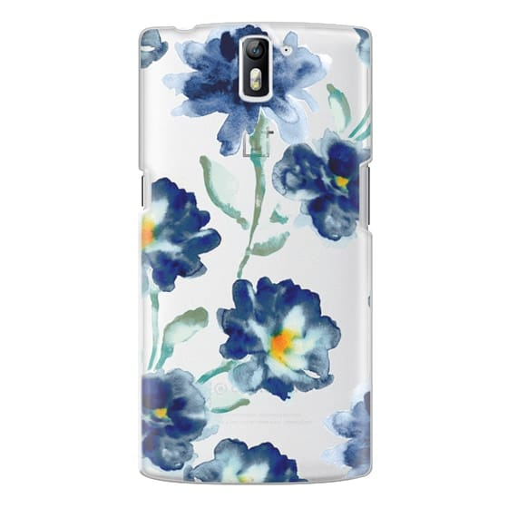 One Plus One Cases - Blue Watercolor Clear Iphone case