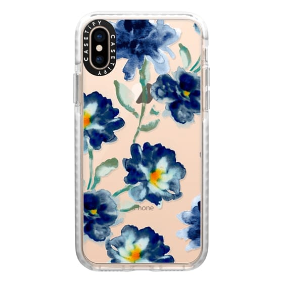 iPhone XS Cases - Blue Watercolor Clear Iphone case
