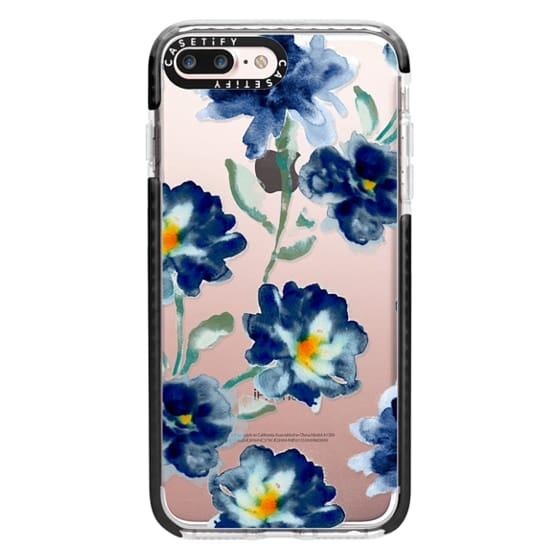 iPhone 7 Plus Cases - Blue Watercolor Clear Iphone case