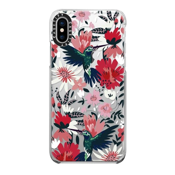 iPhone X Cases - Hummingbirds + Spring Florals