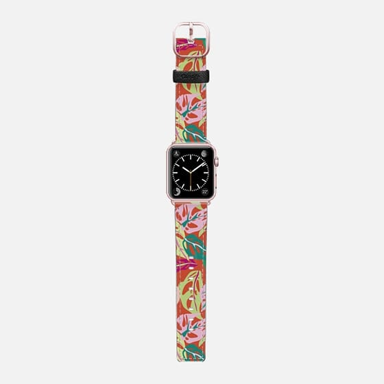 Monstera Obliqua - Saffiano Leather Watch Band