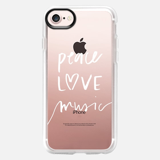Peace Love Music // Festival // Hand Lettered White on Transparent - Wallet Case