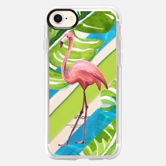 Flamingo and Palms No 2 - Snap Case