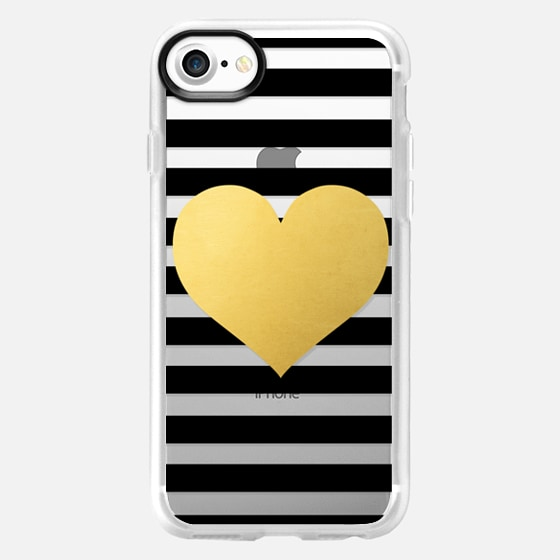 Gold Heart with Black Stripes - Wallet Case