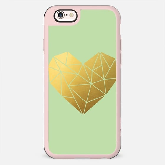Geometric Heart Mint Green and Gold - New Standard Case