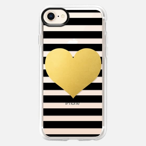 Gold Heart with Black Stripes - Snap Case