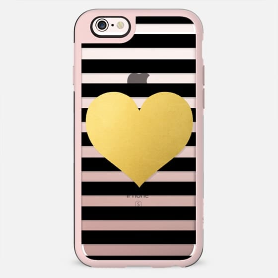 Gold Heart with Black Stripes