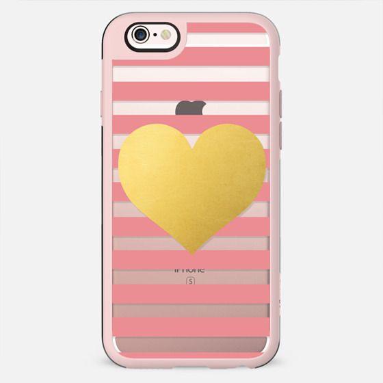 Gold Heart - Pink Stripes - New Standard Case