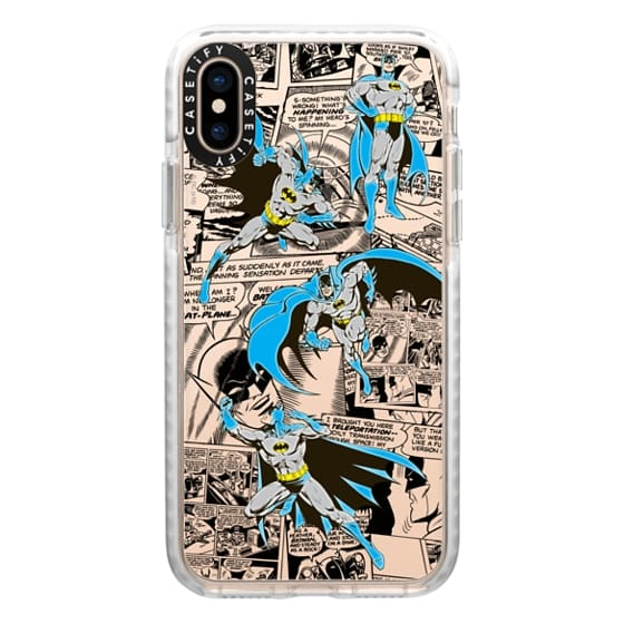 iPhone XS Cases - Batman in Action with Comic