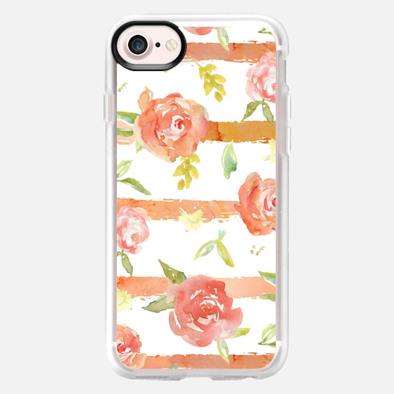 Watercolor Peony + Stripes - Classic Grip Case