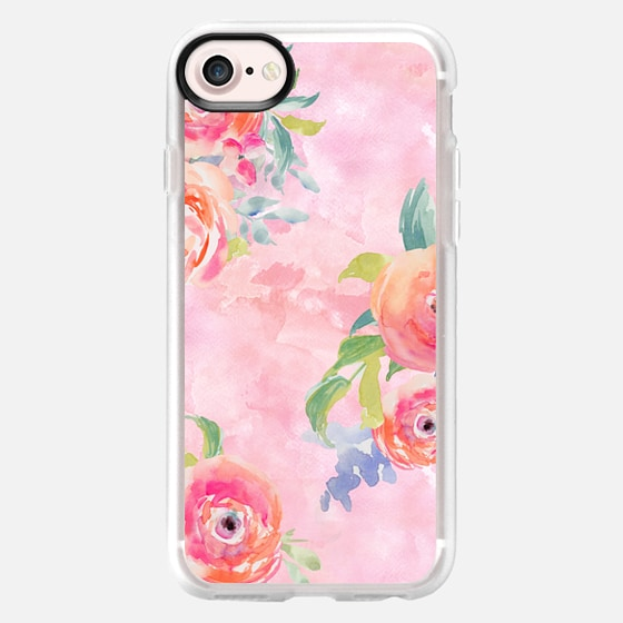 Cute Pink Watercolor Flowers - Classic Grip Case