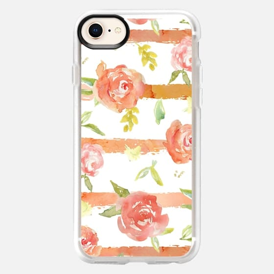 Watercolor Peony + Stripes - Snap Case
