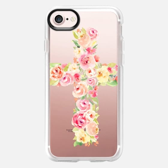 Watercolor Cross Made of Flowers - Classic Grip Case