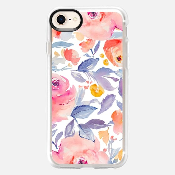 Watercolor Floral Blues + Pinks Pattern - Snap Case