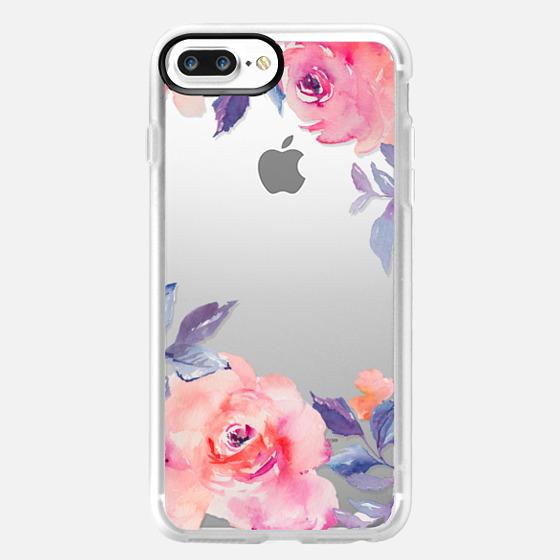 iPhone 7 Plus Case - Cute Watercolor Flowers Purples + Blues