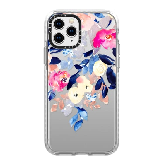 iPhone 11 Pro Cases - Watercolor Navy and Pink Flowers