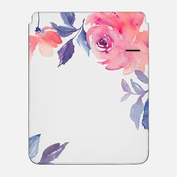 "iPad Pro 12.9"" Sleeve Cute Watercolor Flowers Purples + Blues"