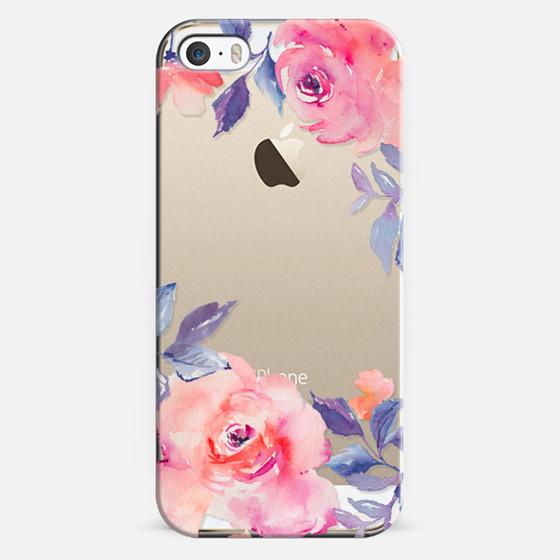 iPhone 5s Capa - Cute Watercolor Flowers Purples + Blues