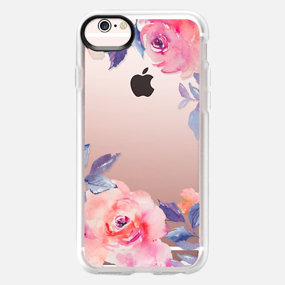 iPhone 6s Case - Cute Watercolor Flowers Purples + Blues