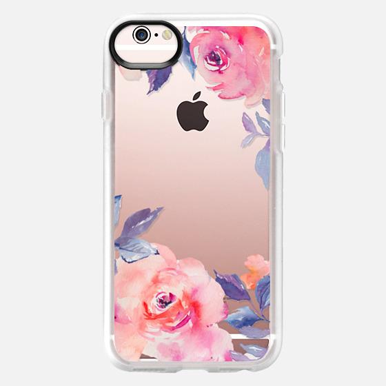iPhone 6s เคส - Cute Watercolor Flowers Purples + Blues