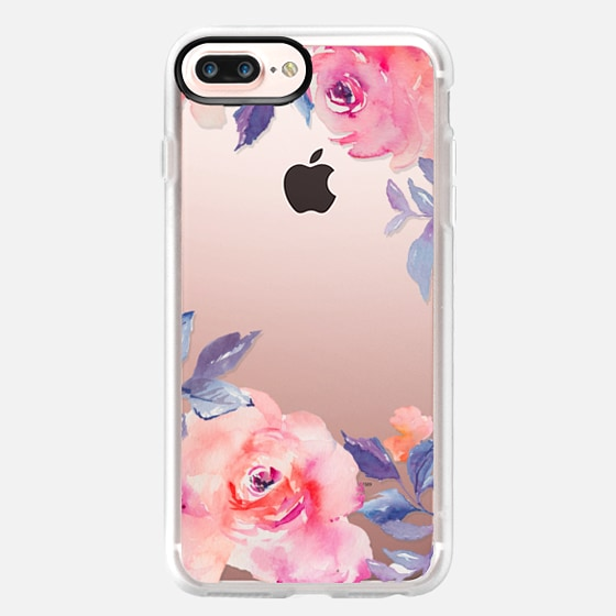iPhone 7 Plus Case - Cute Watercolor Flowers Purples + Blues