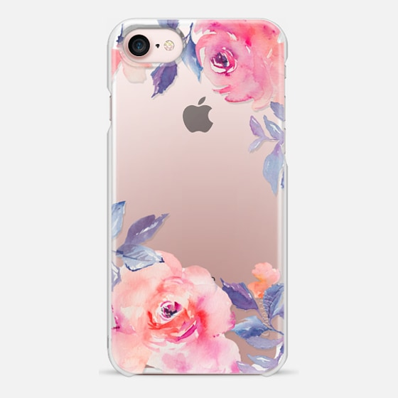 iPhone 7 เคส - Cute Watercolor Flowers Purples + Blues