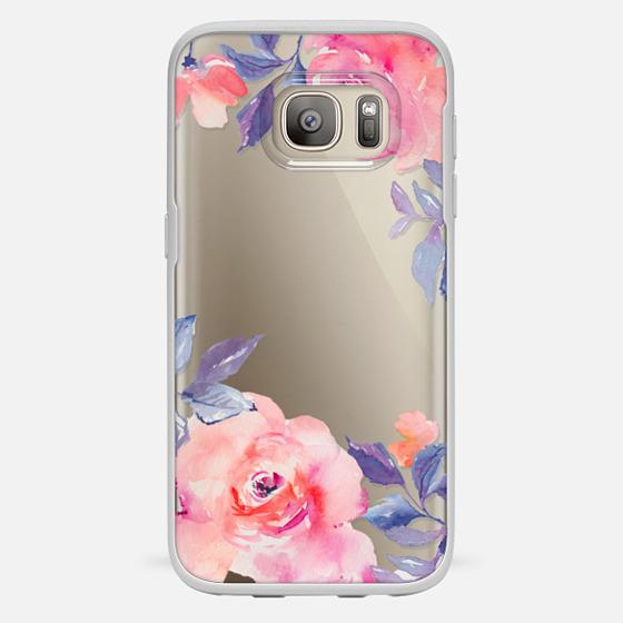 Galaxy S7 Funda - Cute Watercolor Flowers Purples + Blues