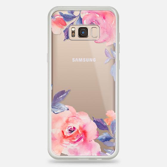 Galaxy S8+ เคส - Cute Watercolor Flowers Purples + Blues