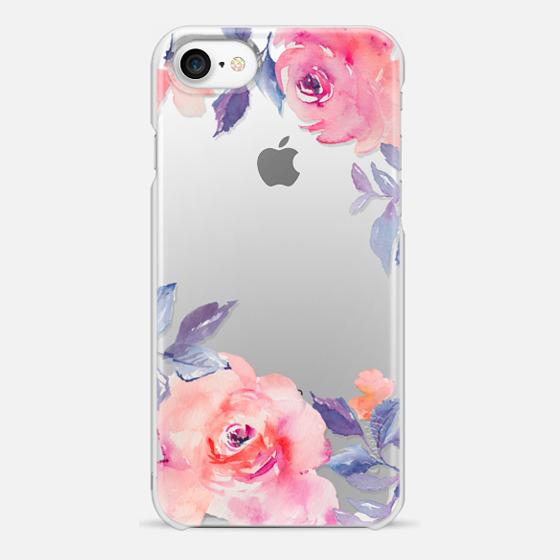 iPhone 7 Capa - Cute Watercolor Flowers Purples + Blues