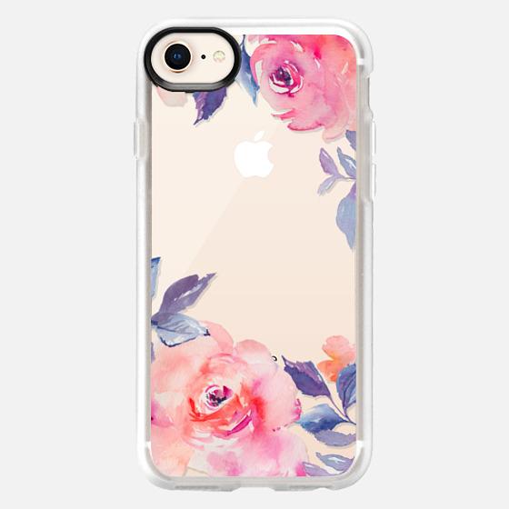 iPhone 8 เคส - Cute Watercolor Flowers Purples + Blues