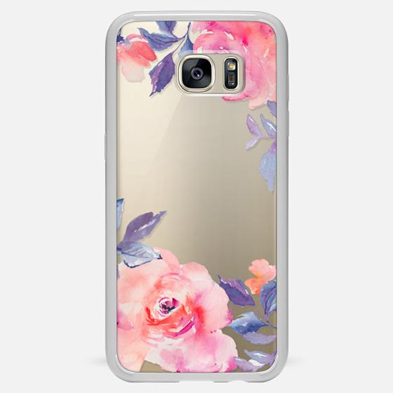 Galaxy S7 Edge Case - Cute Watercolor Flowers Purples + Blues