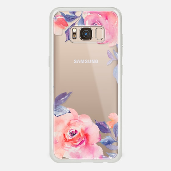 Galaxy S8 Case - Cute Watercolor Flowers Purples + Blues