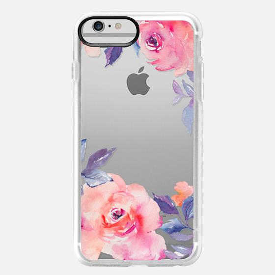 iPhone 6 Plus Case - Cute Watercolor Flowers Purples + Blues