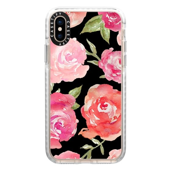 iPhone XS Cases - Black and Pink Watercolor Peonies