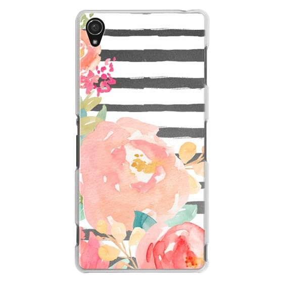 Watercolor Flower Peonies With Stripes