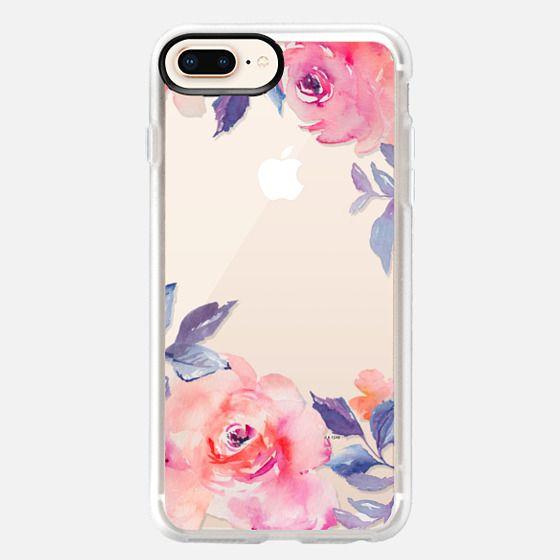 iPhone 8 Plus 保護殼 - Cute Watercolor Flowers Purples + Blues