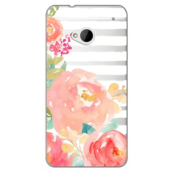Htc One Cases - Watercolor Flower Peonies With Stripes