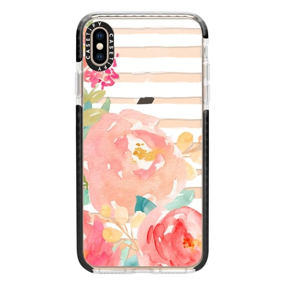 iPhone XS Max Cases - Watercolor Flower Peonies With Stripes