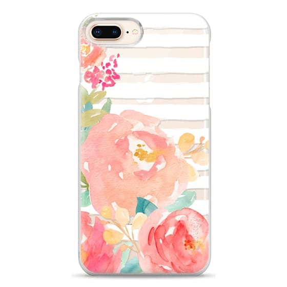iPhone 8 Plus Cases - Watercolor Flower Peonies With Stripes