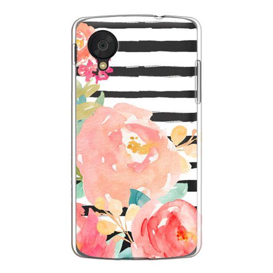 Nexus 5 Cases - Watercolor Flower Peonies With Stripes