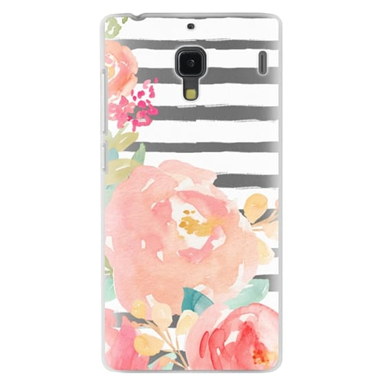 Redmi 1s Cases - Watercolor Flower Peonies With Stripes