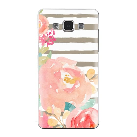 Samsung Galaxy A5 Cases - Watercolor Flower Peonies With Stripes