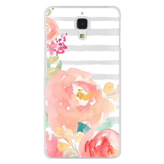 Xiaomi 4 Cases - Watercolor Flower Peonies With Stripes