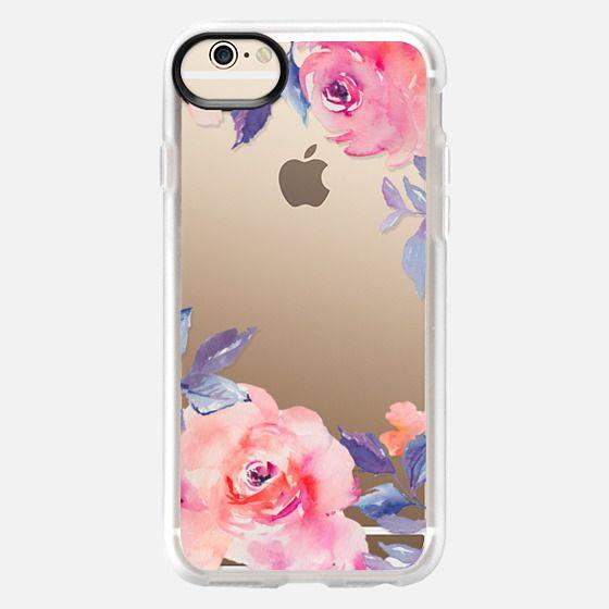 iPhone 6 Case - Cute Watercolor Flowers Purples + Blues